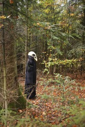 Halloween holiday concept. Skull crow costume. Scary bird in the autumn forest.Horror and fear concept. man in white bird skull mask and black cloak. Autumn holidays time.