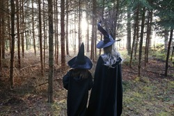 Halloween holiday concept. Two witches with brooms in a dark forest in the sunlight. Old and young witches. Mom and daughter in witch costumes.Sorcery, witchcraft and magic.Fairy tale characters