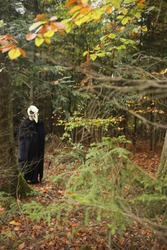 Halloween holiday. Skull crow costume. Scary bird in the autumn forest.Horror and fear concept. man in white bird skull mask and black cloak. Autumn holidays time. halloween mood