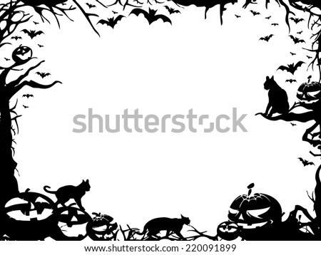 Halloween horizontal frame border isolated on white