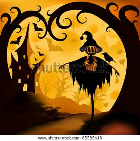 Halloween illustration background with scarecrow; moon and castle