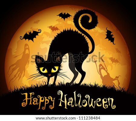 Halloween illustration with black cat on moon background. Check my portfolio for vector version.