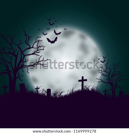 Halloween  illustration with full moon and cemetery on the night sky background. party flyer design #1169999278