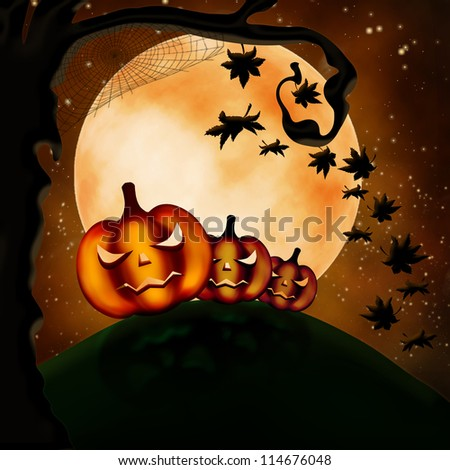 Halloween illustration with three terrible pumpkins and autumn leaves