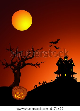 halloween illustrations whith haunted house bats graveyard and pumpkin