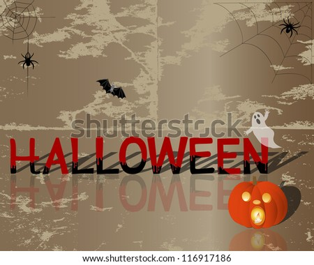Halloween  is painted with blood, pumpkin with a candle inside and other symbols on grunge background. Raster version.