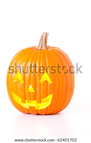 Halloween Jack O Lantern isolated on white background.