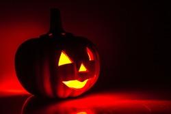 Halloween - Jack-o-lantern pumpkin with candlelight