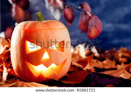 halloween lantern pumpkin  in dark sky clouds moonlight