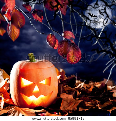 halloween lantern pumpkin  in dark sky clouds moonlight [Photo Illustration]