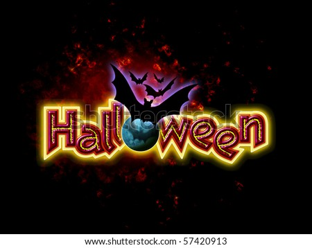Halloween Lettering with Bats - stock photo