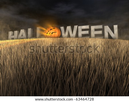 Halloween made of stone letters and giant pumpkin in the field at night