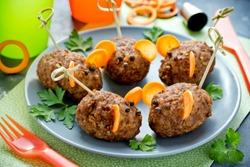Halloween meatball mice , creative and fun food for kids
