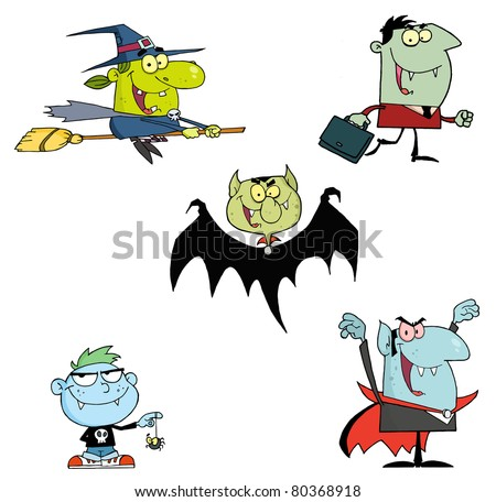 Halloween Monsters Cartoon Characters-Raster Collection.Vector version is also available