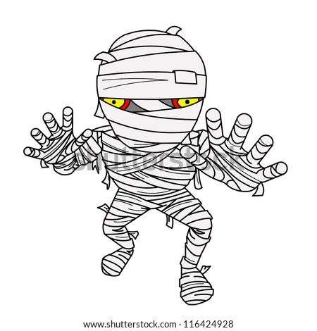 Halloween Mummy comic with bandage.