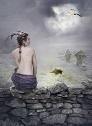 Halloween mystical spooky background with beautiful woman on stone wall