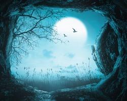 Halloween night background - 3D illustration