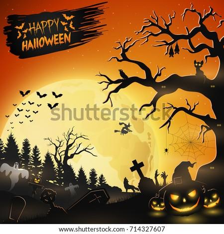 Halloween night background with pumpkins