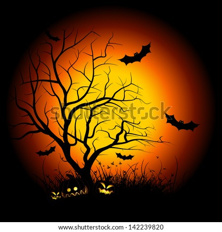 Halloween night background with tree pumpkin bat and grass