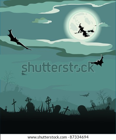Halloween night (bat,grave, gravestone, graveyard, moon, house, tree, witch)