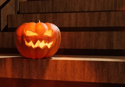Halloween night. Glowing halloween pumpkin on wooden steps. Halloween pumpkin with glowing mouth and eyes. Decorations for the holiday All Hallows' Eve. 3d illustration with lamp jack.