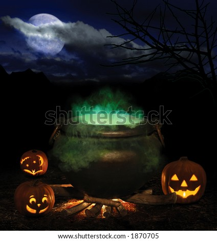 Halloween night with bubbling iron cauldron, orange pumpkin jack-o-lanterns and a full moon