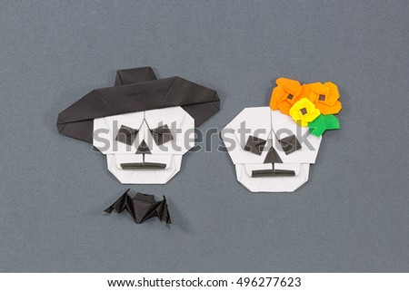 Royalty Free Halloween Origami Skull Couple 496277620 Stock Photo