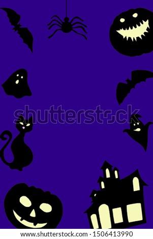Halloween paper decorations - bats, ghosts, pumpkins. Halloween frame, copy space. Composites on purple background
