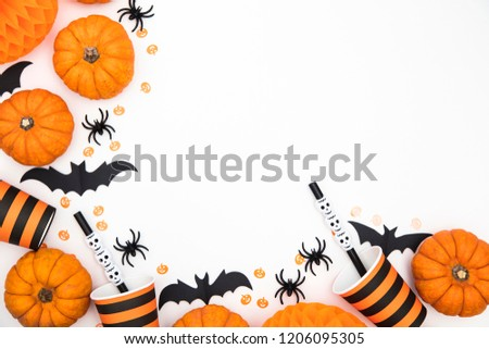 Halloween party background with pumpkins, spooky bats, creepy spiders #1206095305
