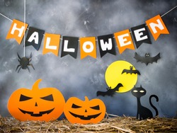 Halloween party decoration background.