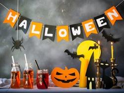 Halloween party decoration,pumpkin drink.