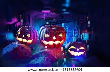 Halloween party in cyberpunk style. Pumpkin head in cyberspace 3d illustration