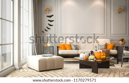 Halloween party in living room - decorations with lanterns and pumpkins , jack-o-lantern, modern classic style, Halloween 2018, 3D render 3D illustration