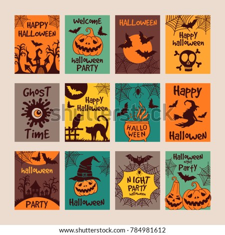 Halloween party invitation cards with different scary illustrations. design template with place for your text