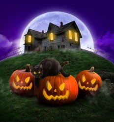 Halloween party poster , Happy Halloween at night ,Scary Pumpkins And black cat