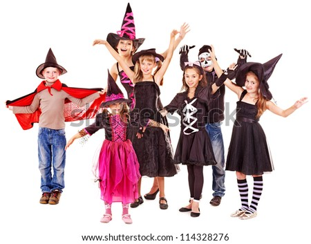 Halloween party with group children. Isolated.