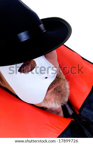 Halloween, Phantom of the opera on white background - stock photo