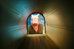 Halloween Pig Man Monster. A Pig Man Monster as seen from inside of his Mail Box. Pig Men love mail even Junk Mail and Check their Mail Boxes Daily. Scary and Spooky Halloween Costume.