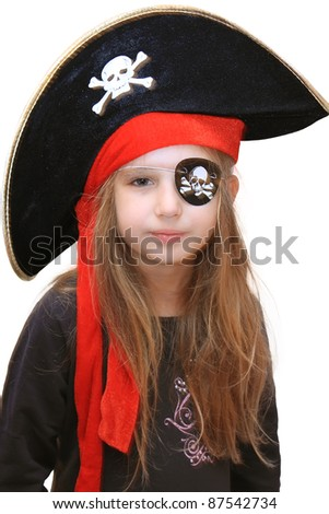 halloween pirate girl - stock photo