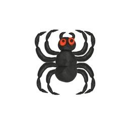Halloween Plasticine black spider 3d icon