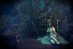 Halloween. Portrait of the dead empress in the old abandoned castle. Ghost in the castle. Vintage style.