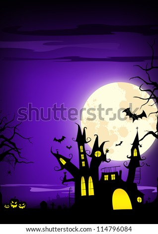 Halloween poster: haunted castle, pumpkin and bats background with space