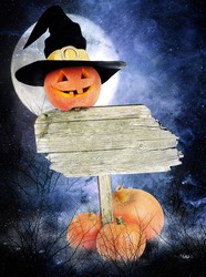Halloween poster with pumpkin in witch hat and a wooden board