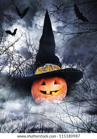 Halloween poster with pumpkin in witch hat on foggy background