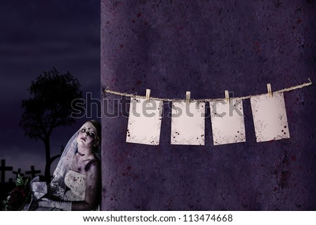 Halloween pricing tags hanging on the rope with zombie bride