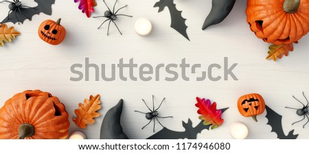 Halloween Pumpkin Bat and Spider on white wooden background. 3d rendering #1174946080