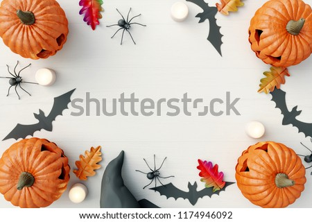 Halloween Pumpkin Bat and Spider on white wooden background. 3d rendering #1174946092