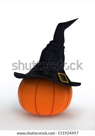 Halloween pumpkin dressed in magical witch hat
