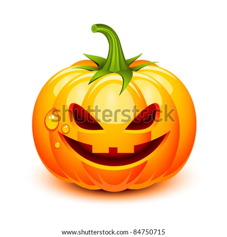 Halloween pumpkin face in a glossy style - stock photo