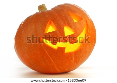 Halloween Pumpkin, funny Jack O\'Lantern on white background